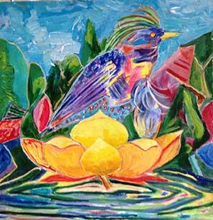 bird and lotus